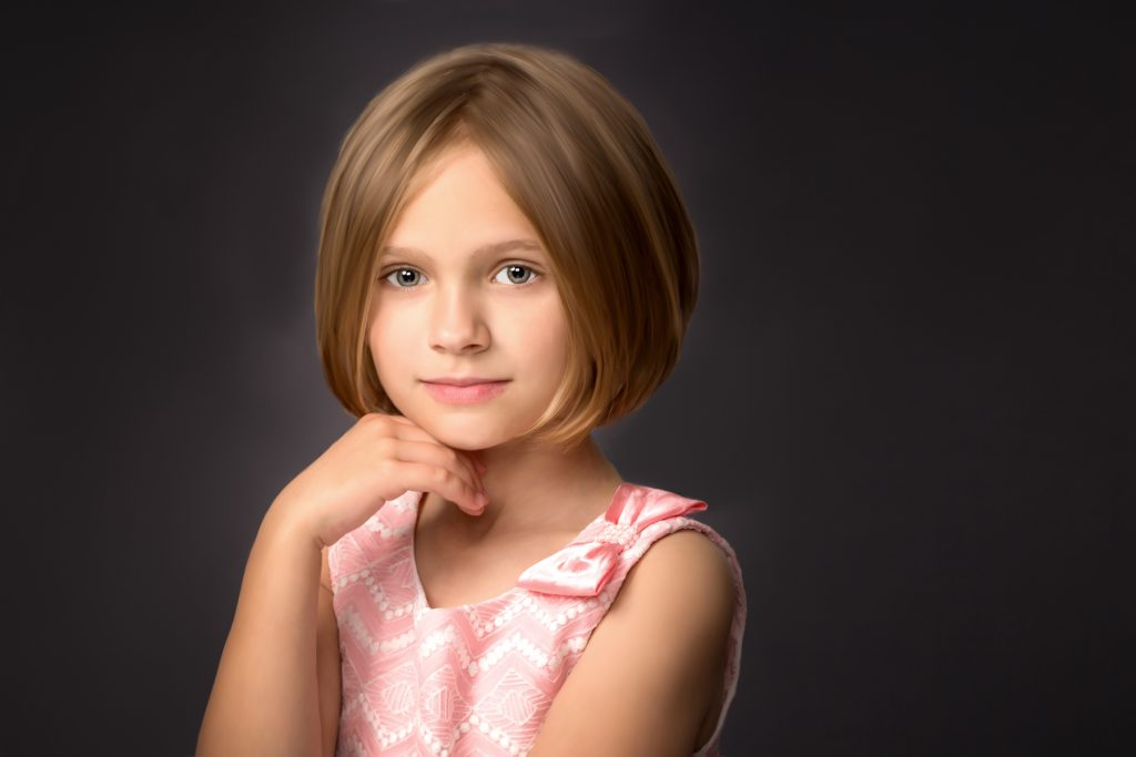 traditional beautiful portrait of a young girl family photography