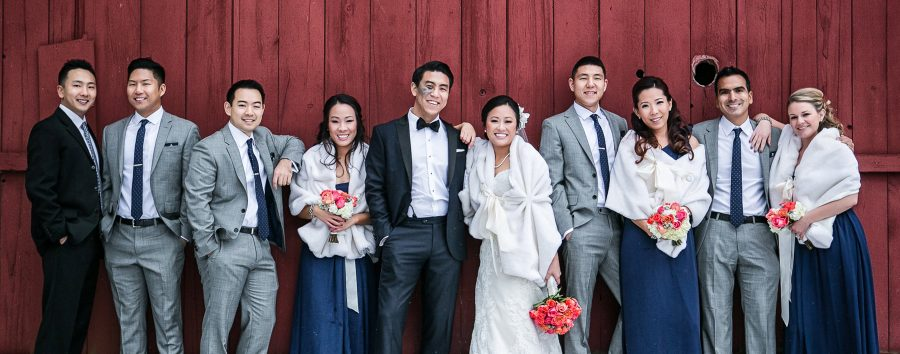 Large bridal party photograph in Franklin, Michigan. Photographer: Hugh Anderson Photography