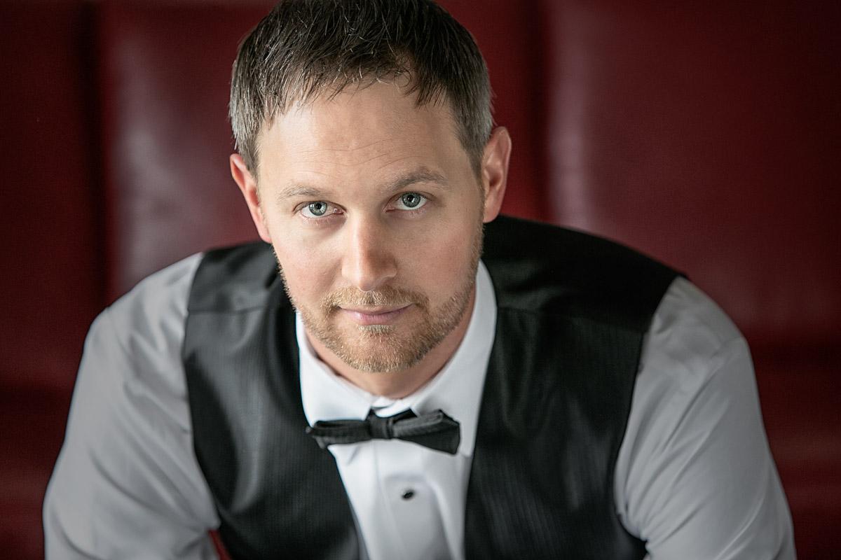 Portrait studio. Portrait of man in bow tie by Hugh Anderson Photography Metro Detroit