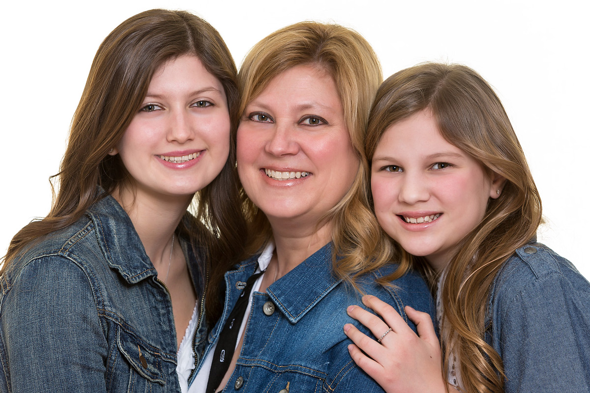 Mother and daughters family portrait